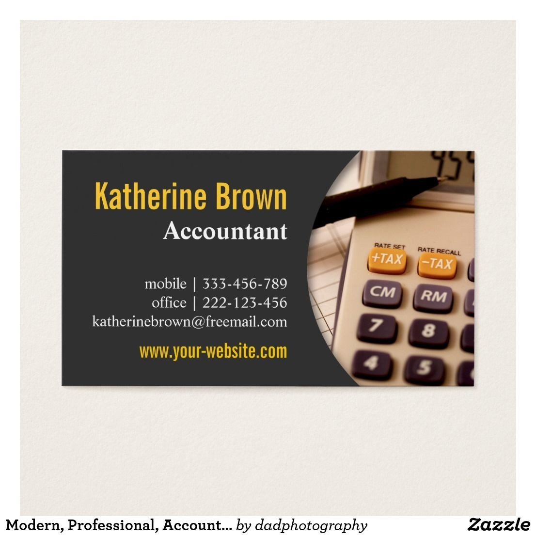 Modern, Professional, Accountant, Tax, Calculator Business-Free Printout Tax Desk Card