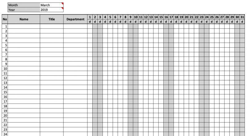 Monthly Attendance Sheet Chart | Attendance Sheet, Classroom-Free Attendance Sheet Pdf 2021