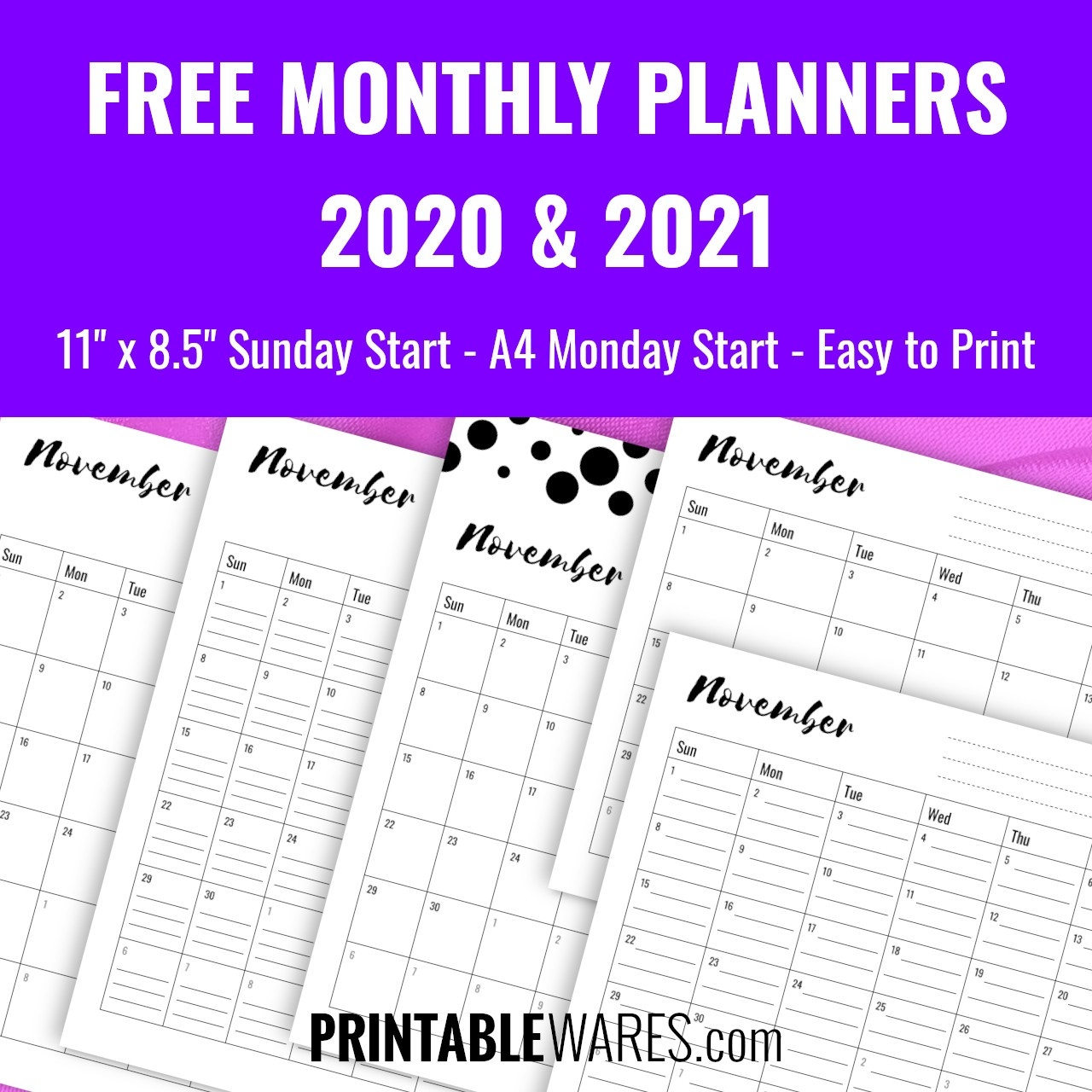 Monthly Planner Printable Pdf Templates 2021, Free-Printable Monthly Diaries 2021