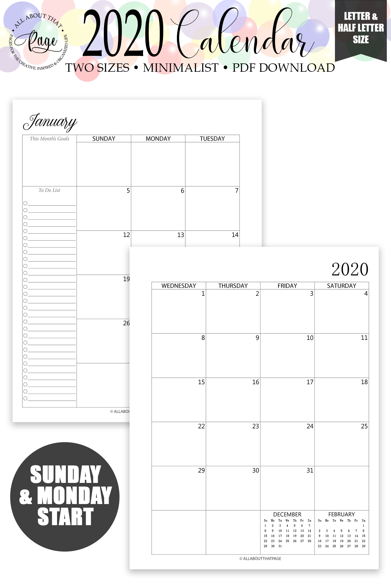 New 2020 2021 Monthly Calendar Printable Two 2 Page Planner-2021 Monthly Calendar Printable 2 Page