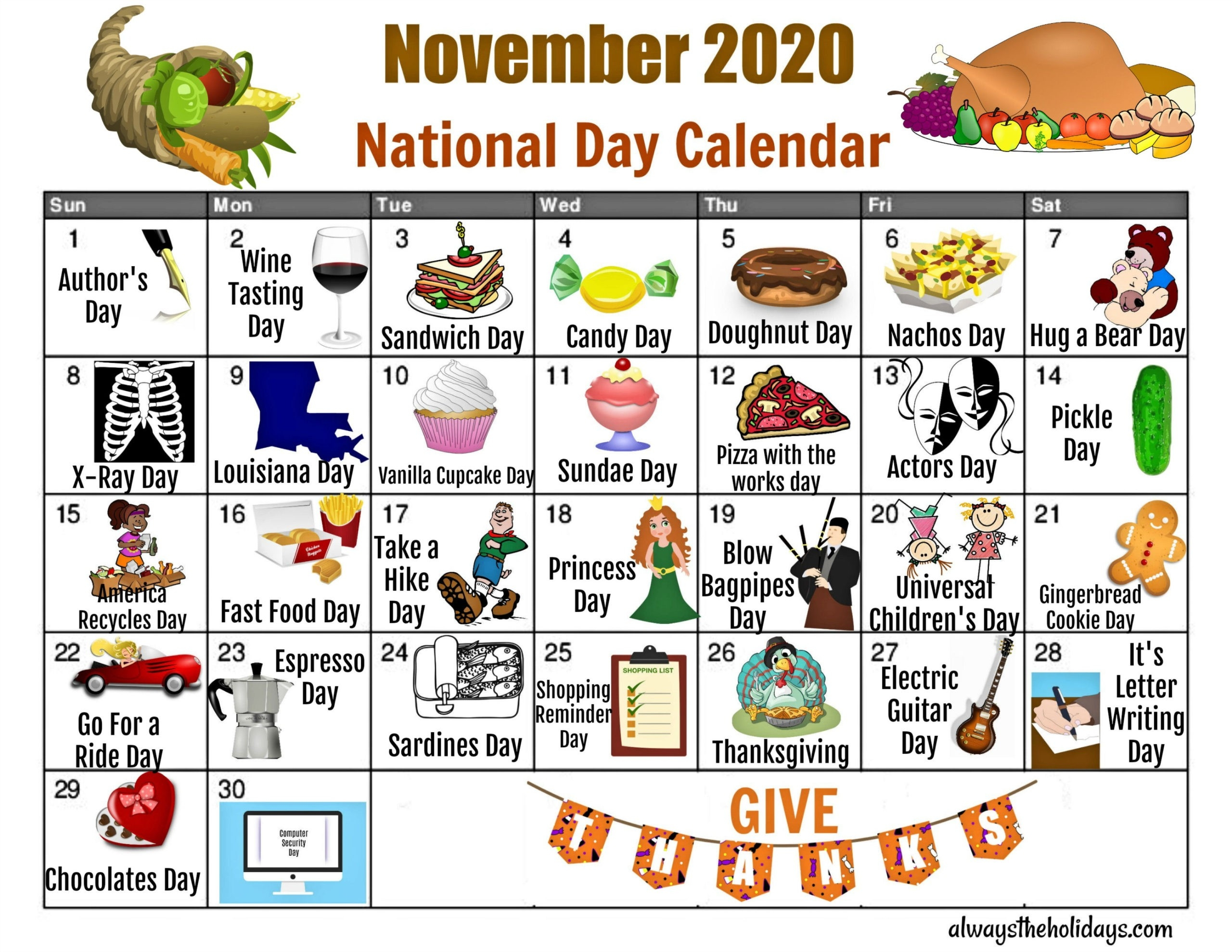 November National Day Calendar - Free Printable Calendars-Fun National Day Calendar Of 2021 Printable
