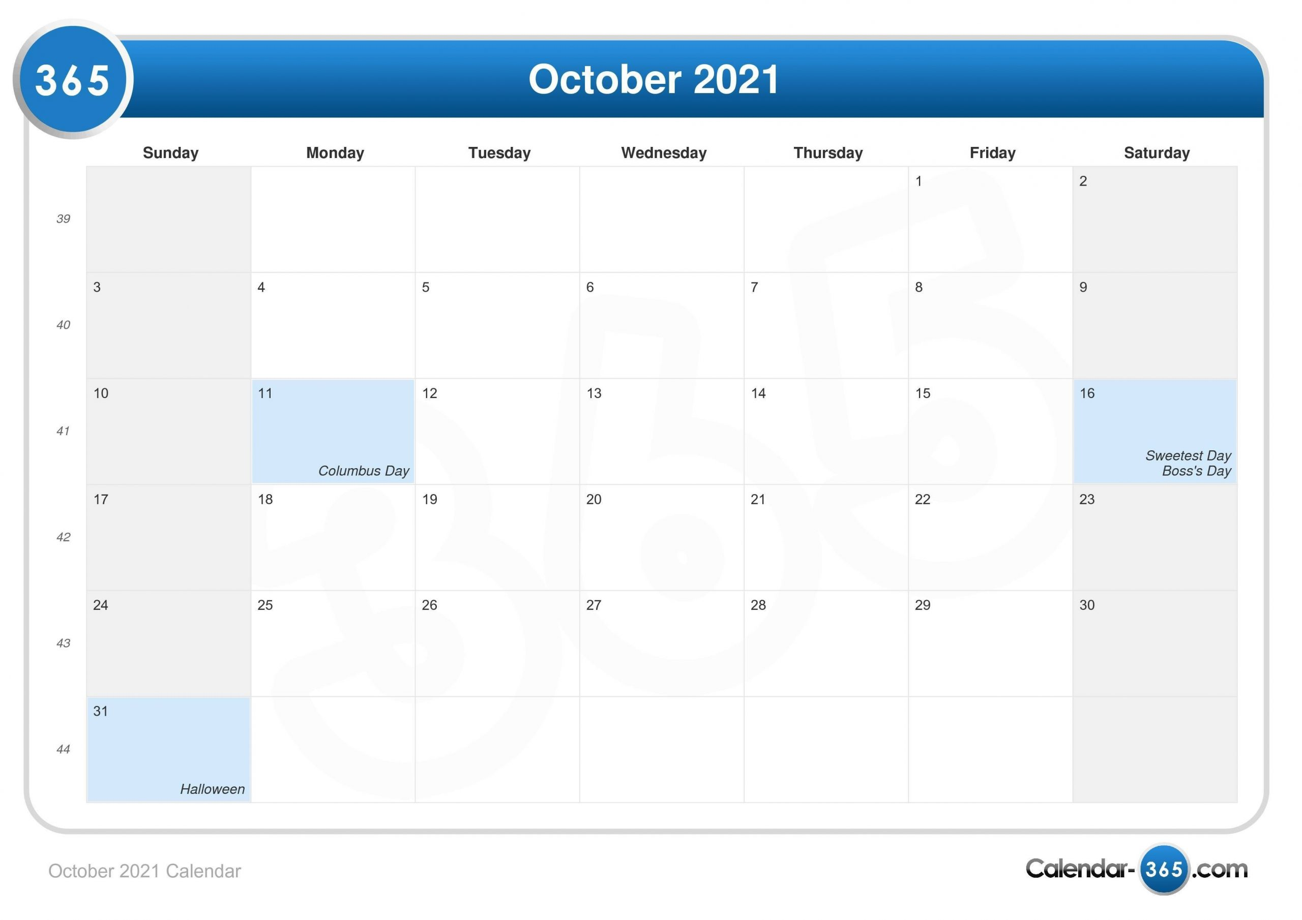 October 2021 Calendar-Jewish Calendar For October 2021
