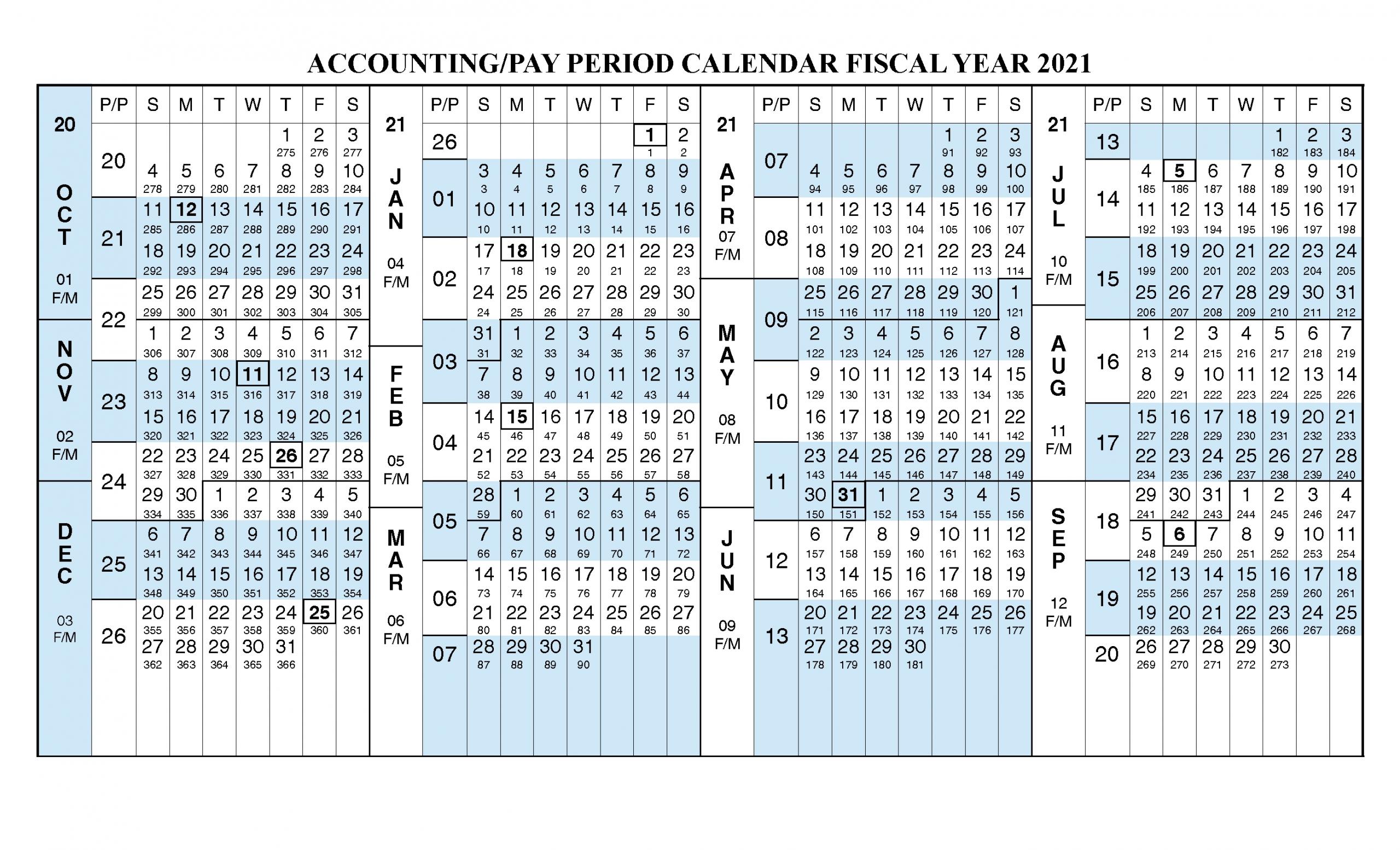 Payroll Calendar 2021 Fiscal Year Calendar [ Oct 2020 - Sep-Fiscal Calendar For October 2021