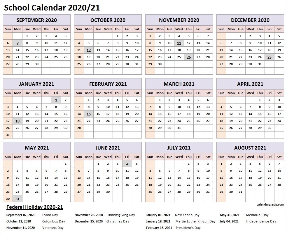 Printable 2020-2021 School Calendar Template (United States-2021 School Holiday Calender