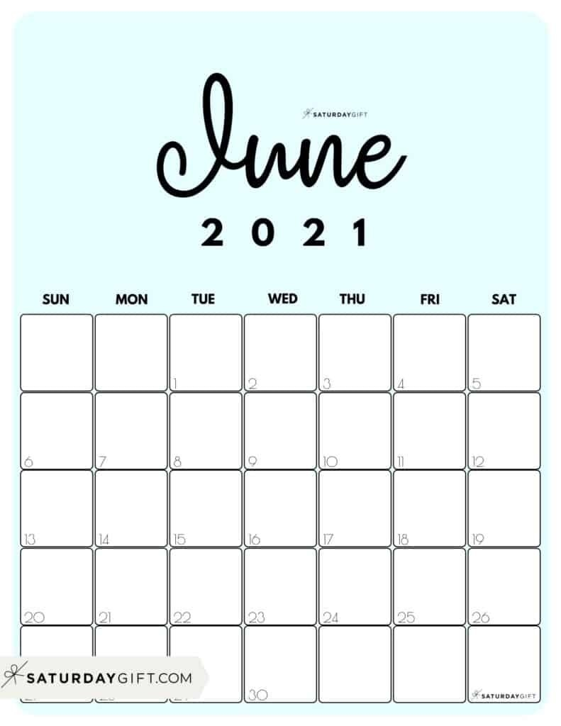 Printable 2021 Calendar By Month In 3 Cute Colors | Saturdaygift-Calander 2021 June For Bills