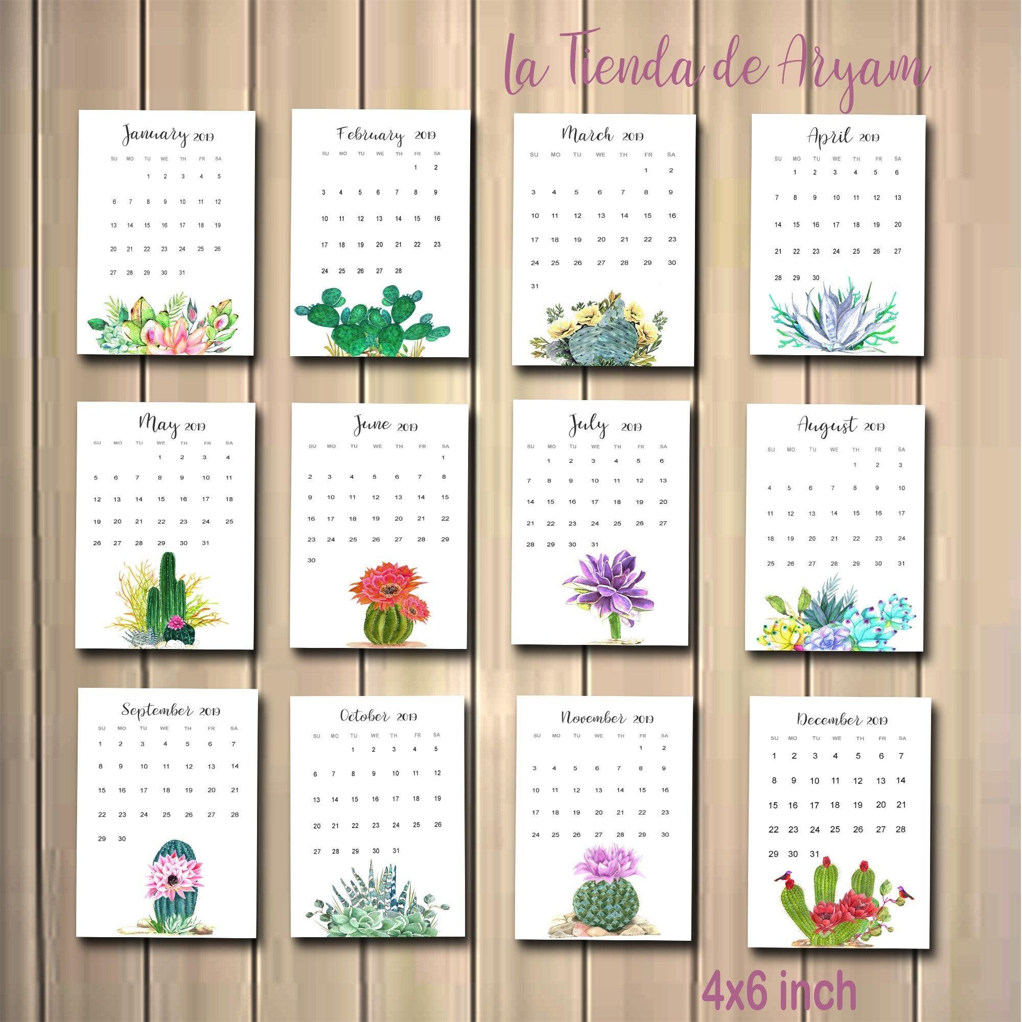 Printable 2021 Calendar Cactus Cactus In Pots Desk Calendar-4X6 Printable Calendar 2021 Free