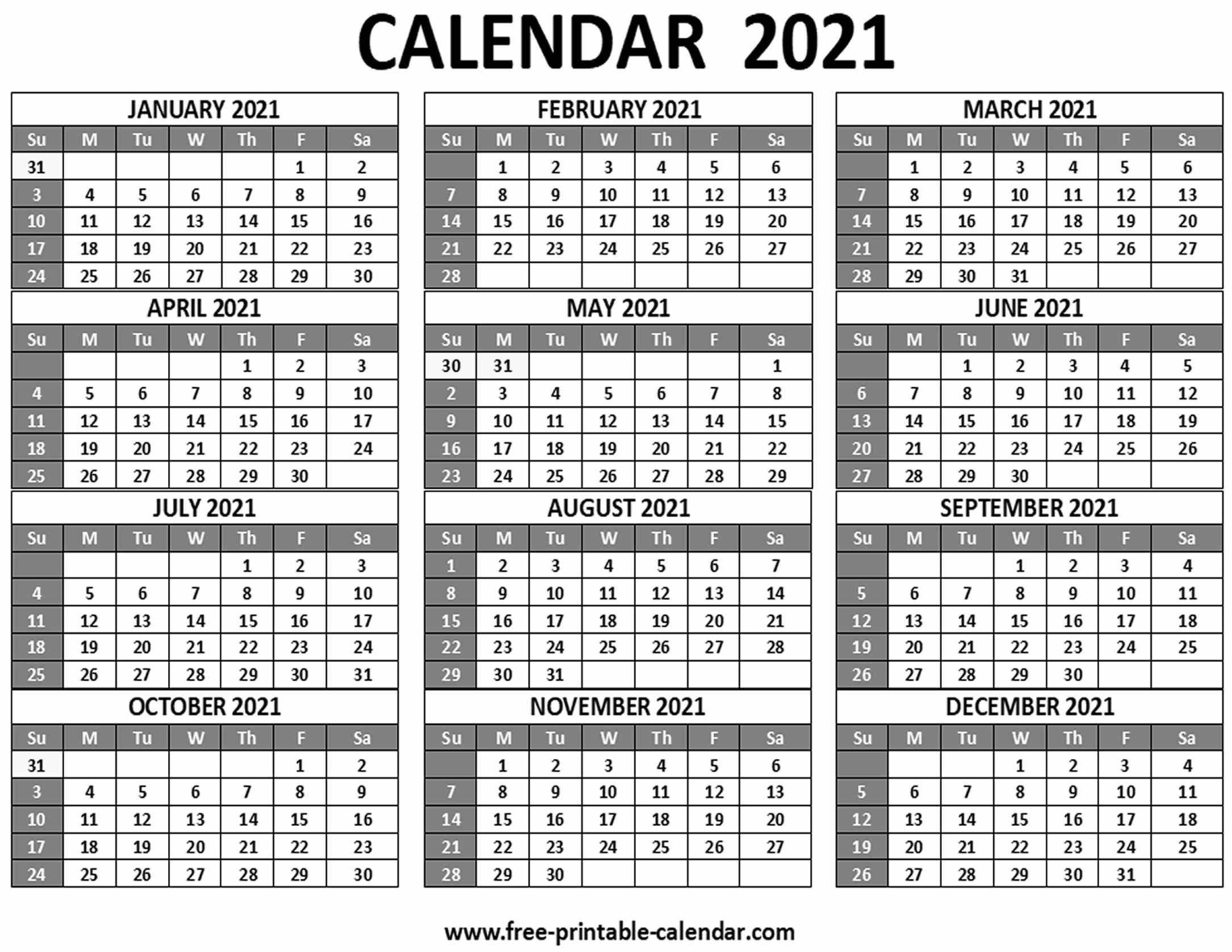 Printable 2021 Calendar - Free-Printable-Calendar-Free Monthly Calendar Printable 2021
