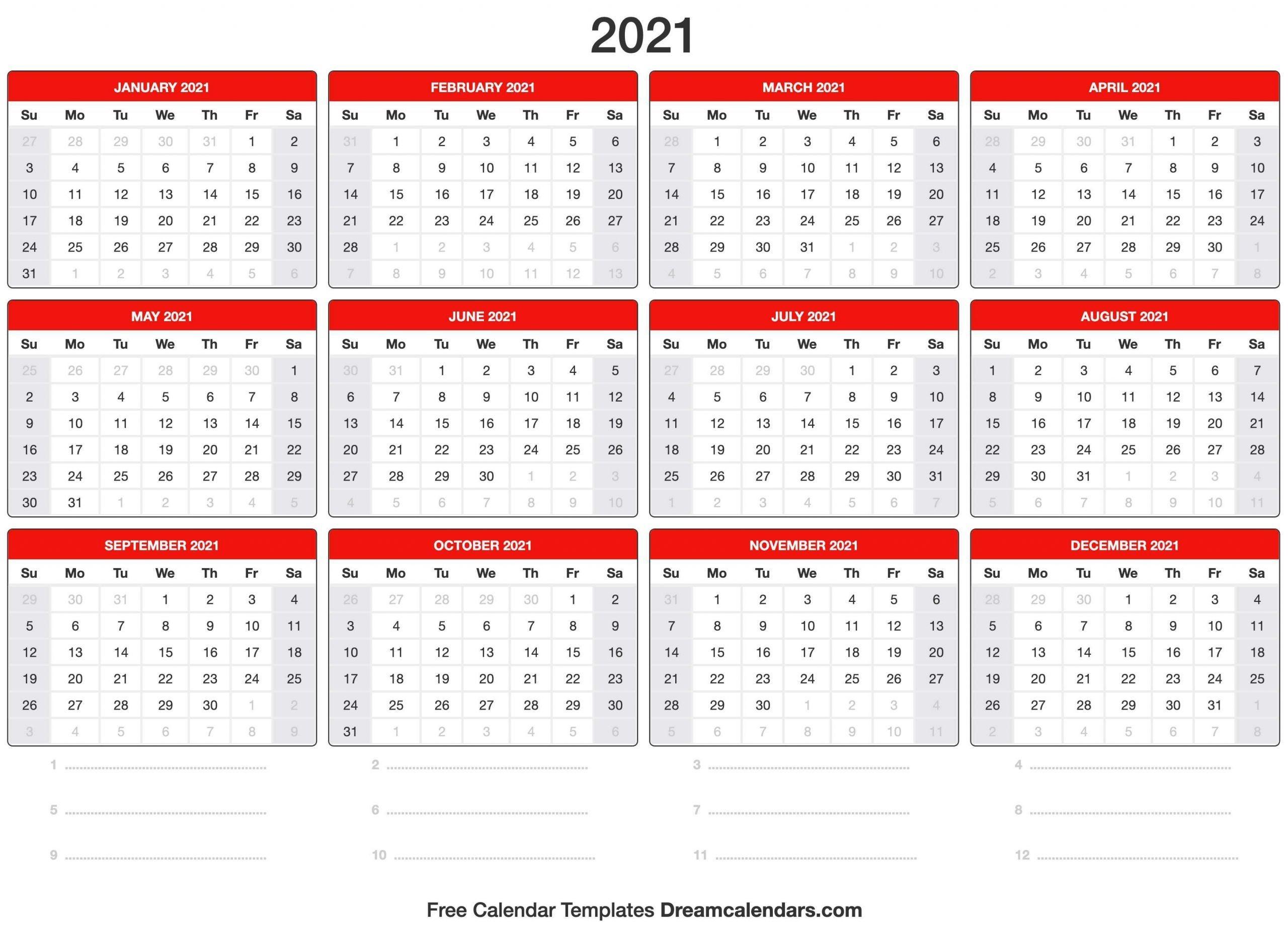 Printable 2021 Calendar Template | Calendar Template-Microsoft 2021 Calendar Templates Free