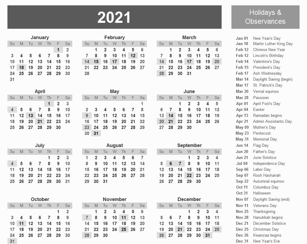 Printable 2021 Calendar With Holidays | Calendar Template-4X6 Printable Calendar 2021 Free