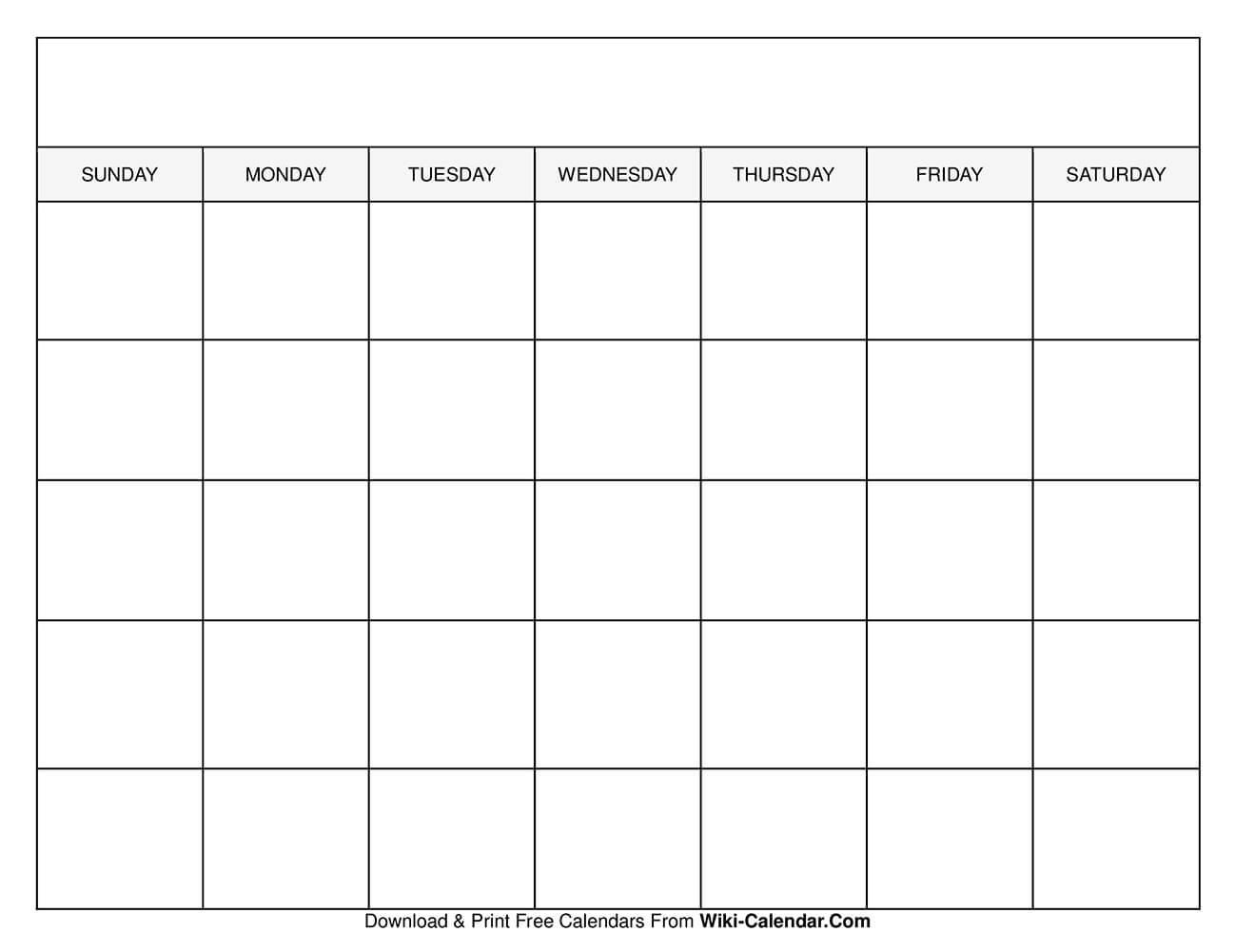 Printable Blank Calendar Templates-Sundat To Saturday Printable Monthly Blank Calendar