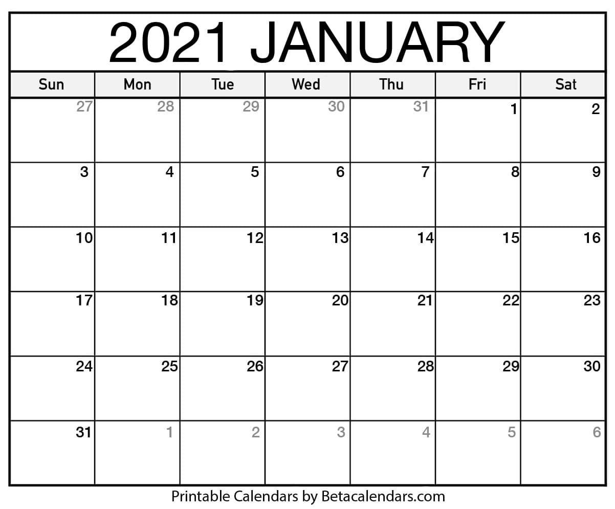 Printable Calendar 2021   Download & Print Free Blank Calendars-Fill In Blank Calendar 2021