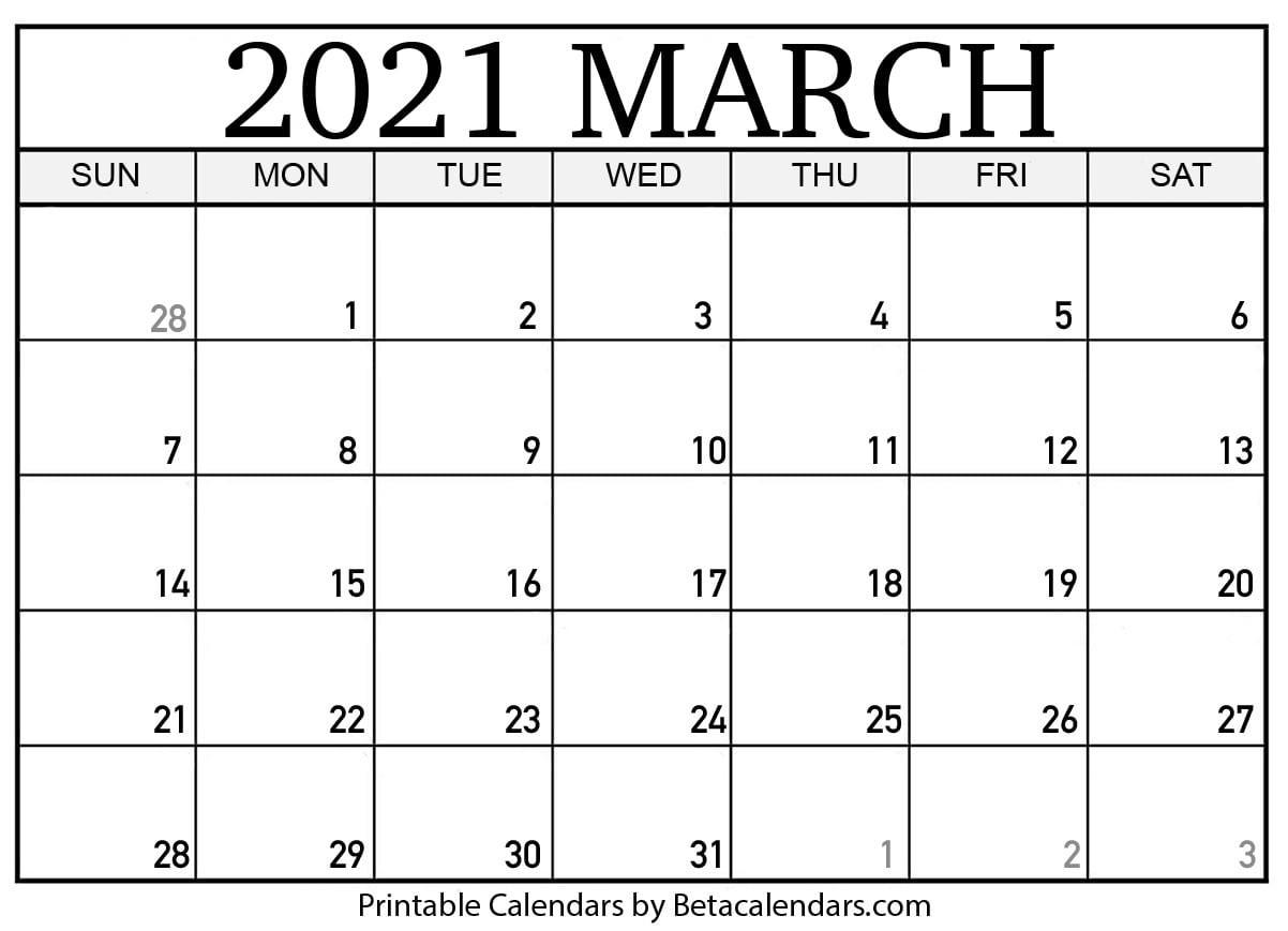 Printable Calendar 2021 | Download & Print Free Blank Calendars-Free Blank No Date Printable Calendar 2021
