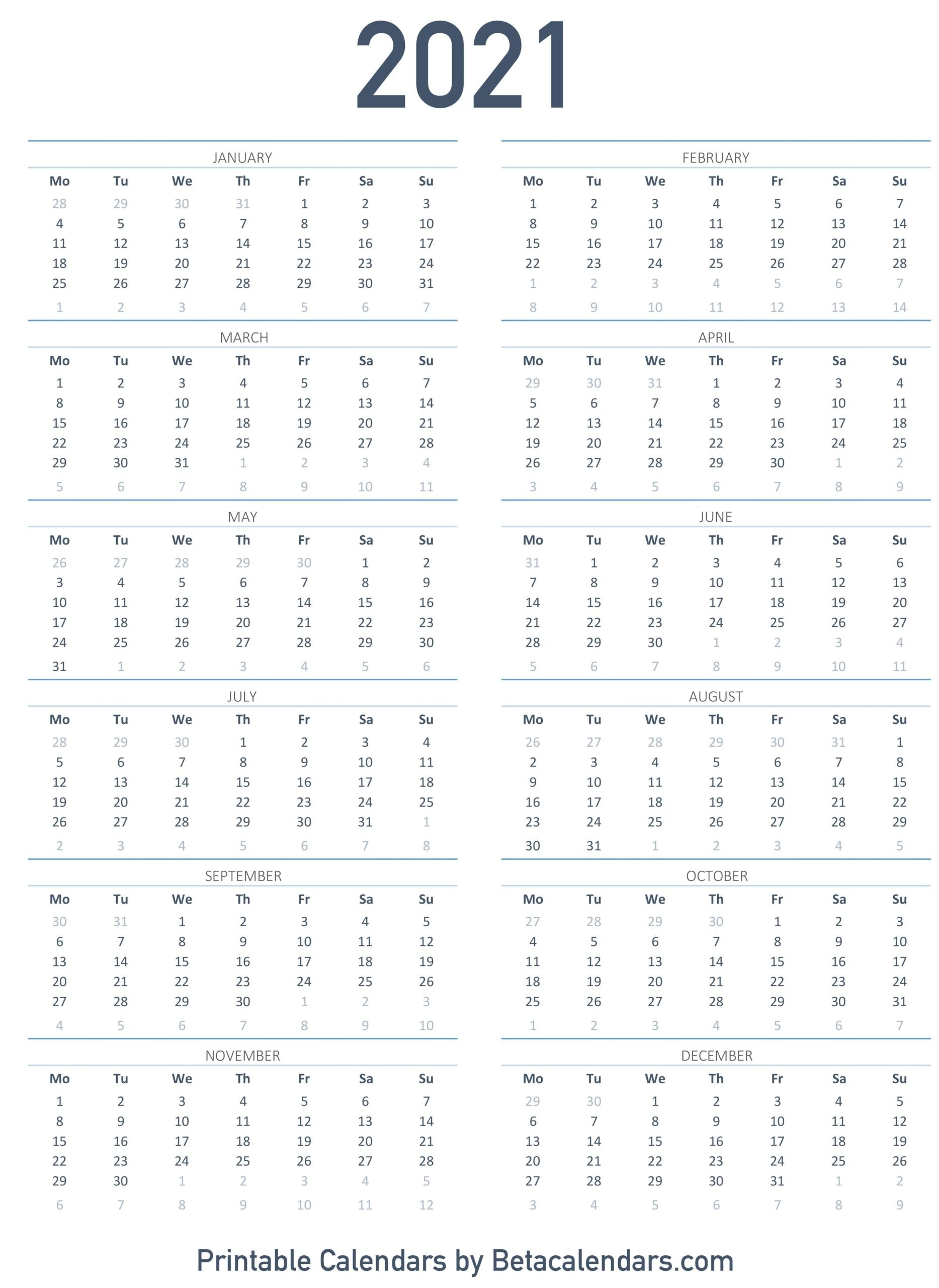 Printable Calendar 2021 | Download & Print Free Blank Calendars-Printable 2021 Atteance Calendar
