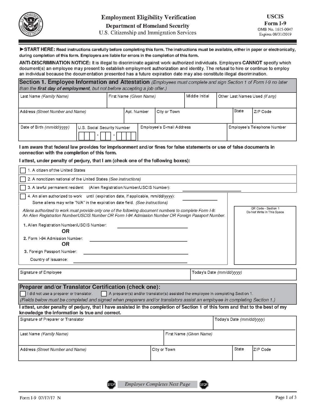Printable I9-Form   I-9 Form 2020 Printable Form-Blank I9 2021