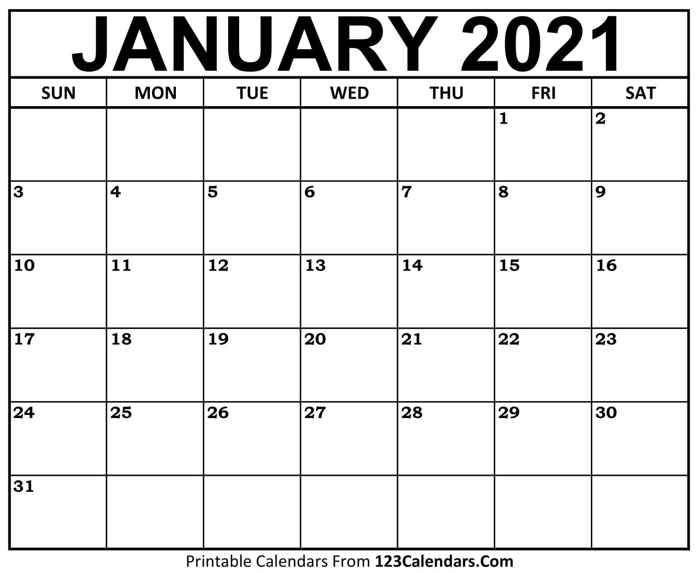Printable January 2021 Calendar Templates | 123Calendars-Free Blank No Date Printable Calendar 2021