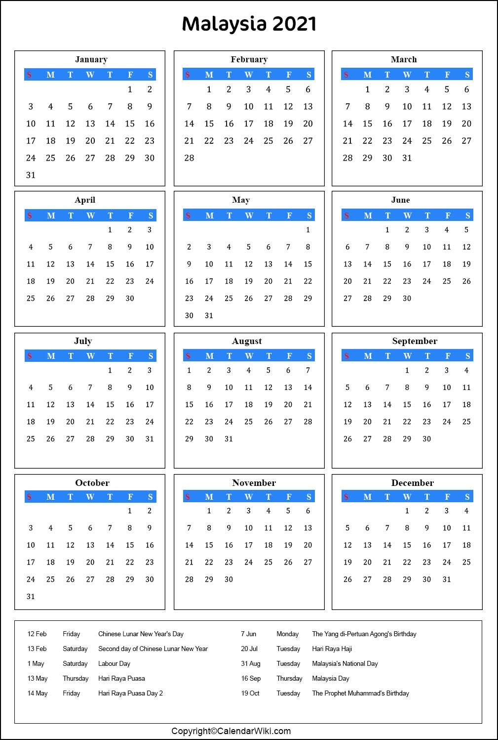 Sarawak Almanac 2021 Pdf | Calendar Template Printable