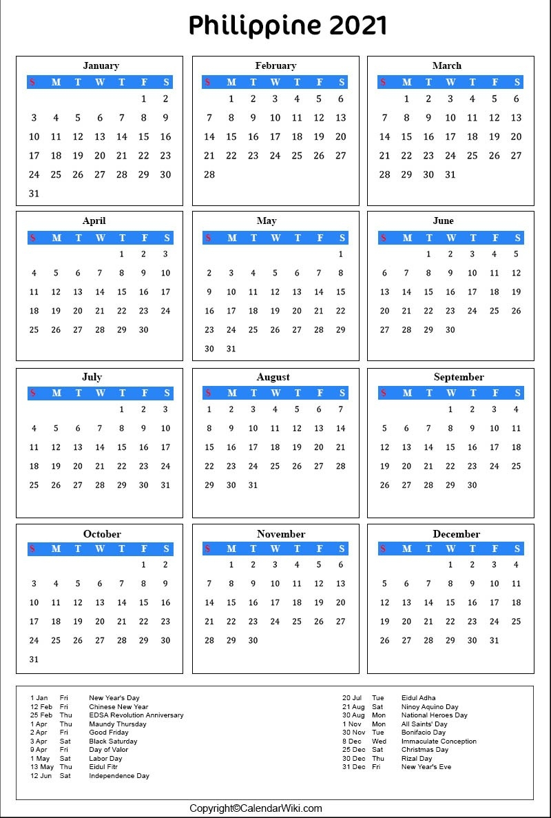 Printable Philippines Calendar 2021 With Holidays [Public-Print Philippine 2021 Calendars With Holiday