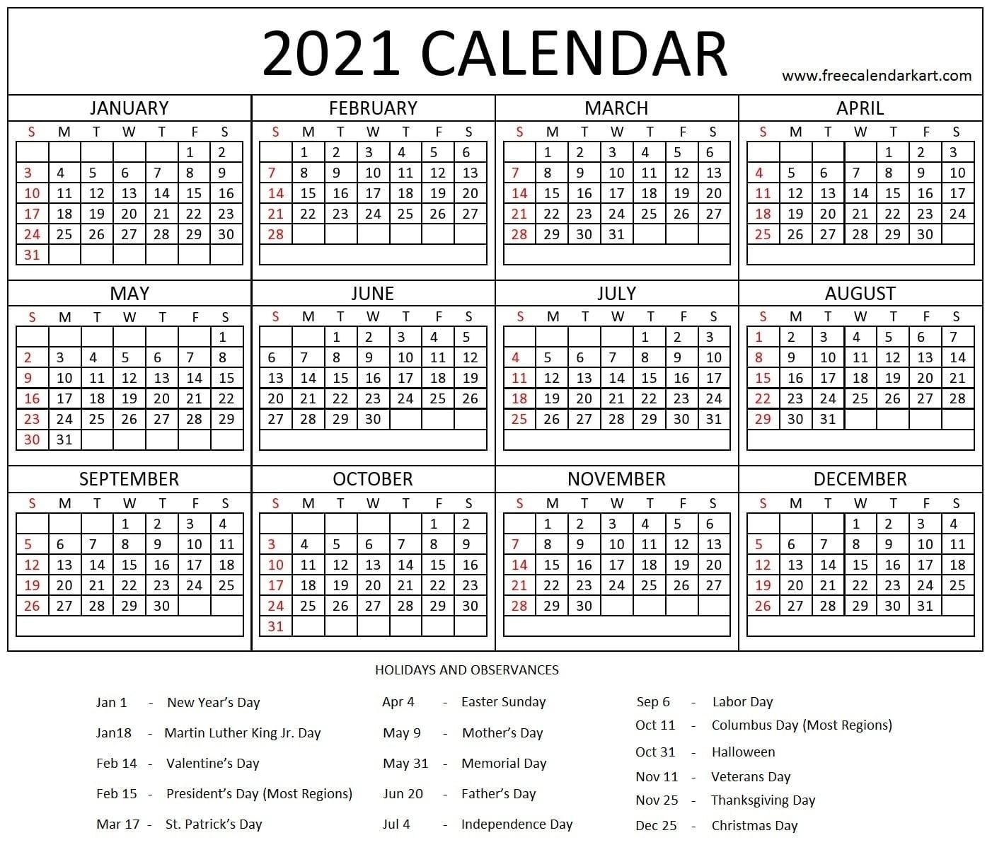 Printable Yearly 2021 Calendar And Holiday Template Free-Printable Healthcare Awareness Calendar 2021
