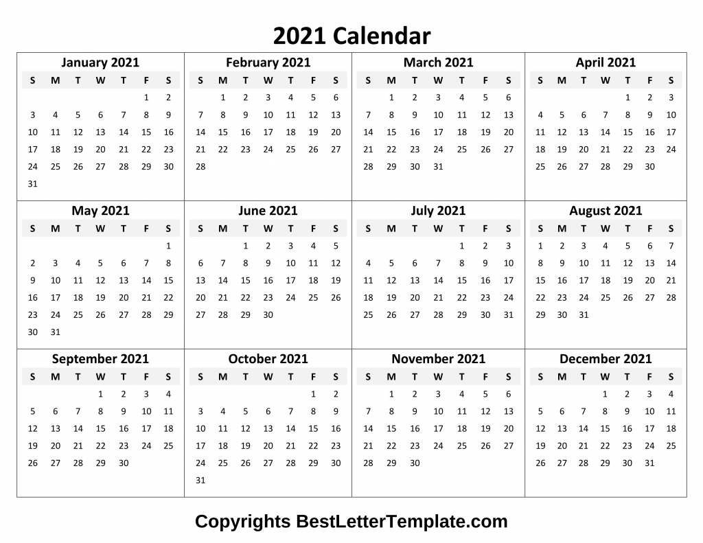 Printable Yearly 2021 Calendar Template In Pdf, Word & Excel-Microsoft 2021 Calendar Templates Free
