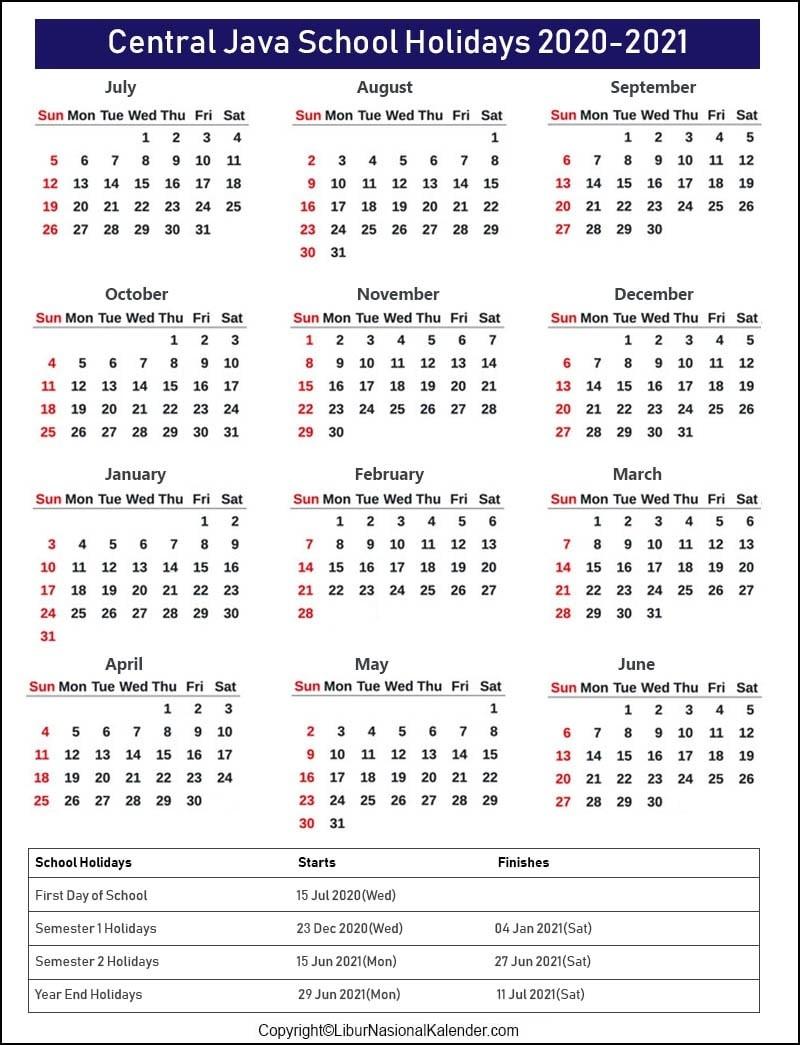 School Holidays Central Java 2020-2021 [Academic Calendar-2021 School Holiday Calender