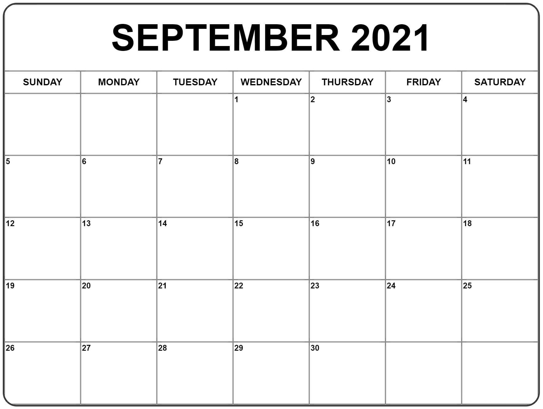 September 2021 Calendar   Blank Monthly Calendar Template-Free Printable Blank Monthly Calendar Year 2021