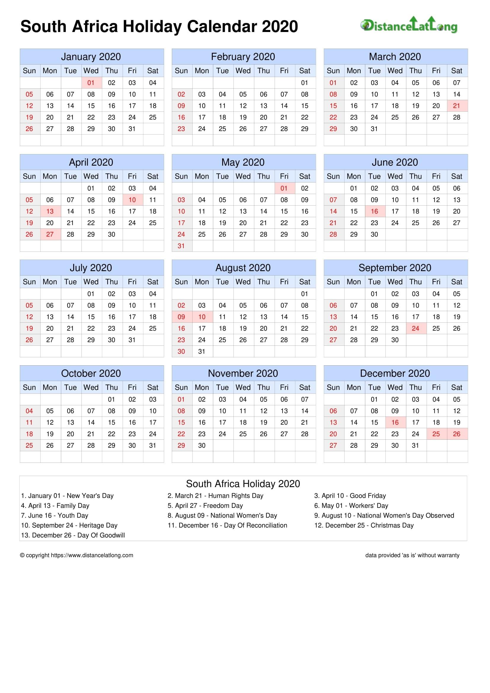 2021 South African Calendar | Calendar Template Printable