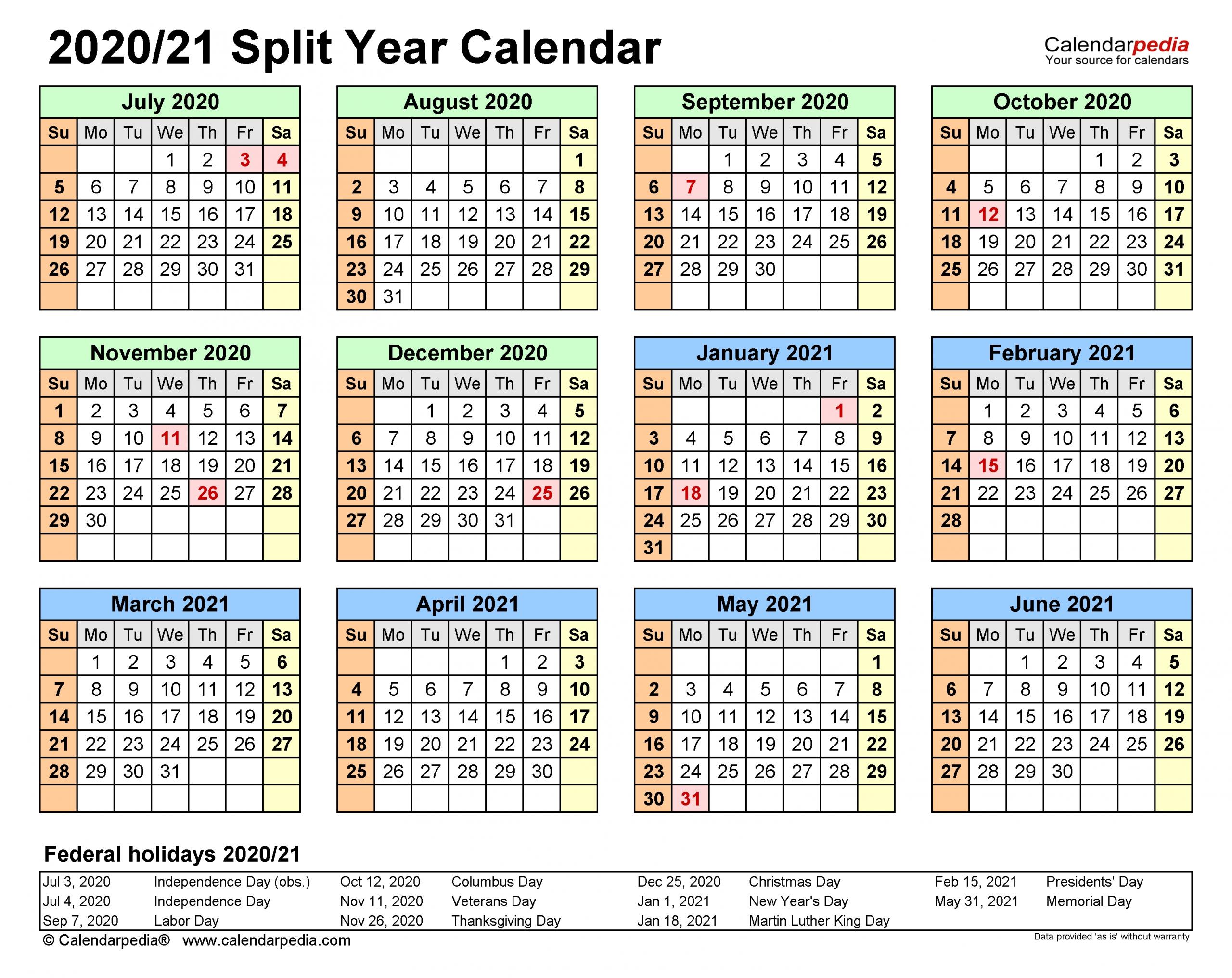 Split Year Calendars 2020/2021 (July To June) - Word Templates-Edit October 2021 Ms Word