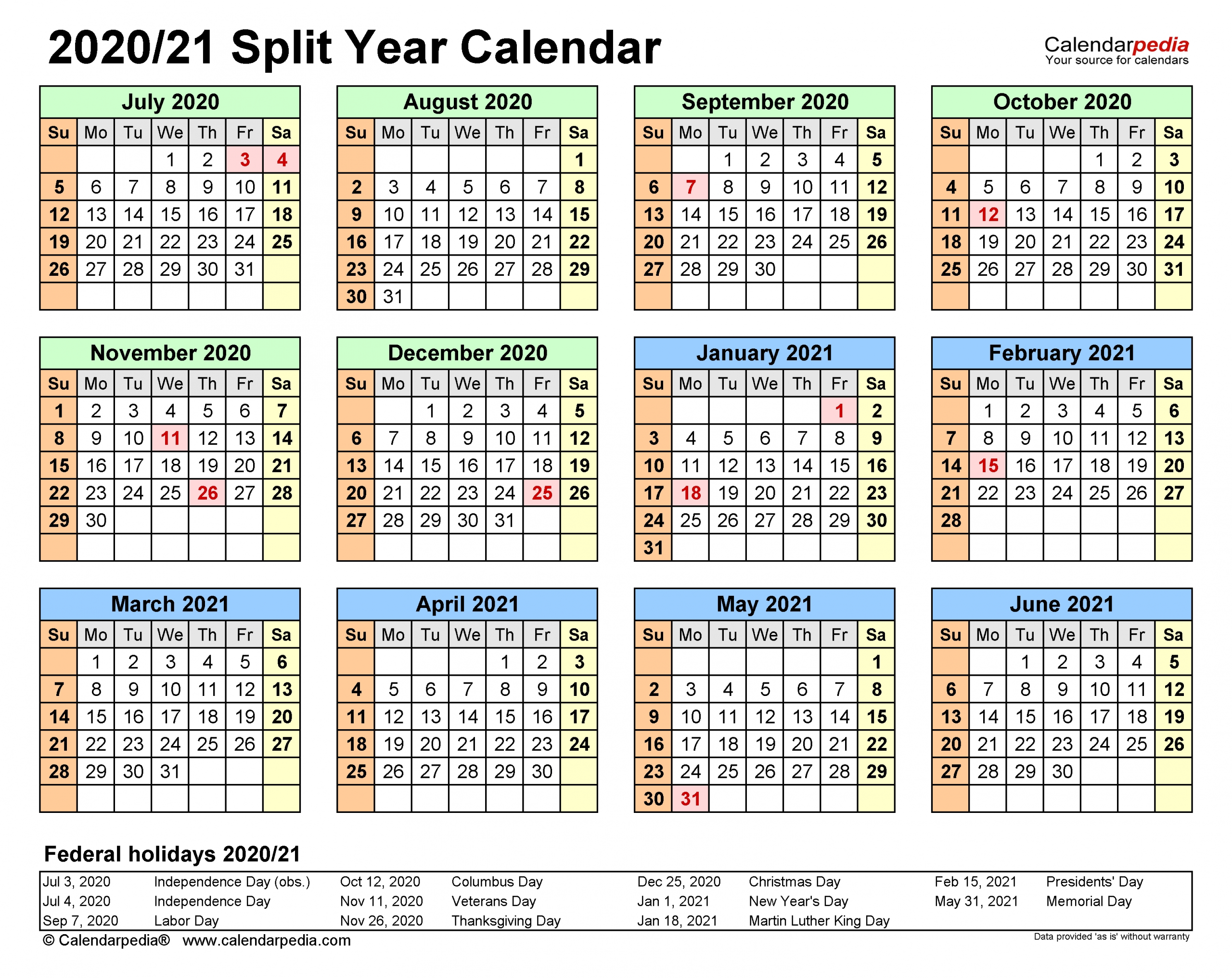 Split Year Calendars 2020/2021 (July To June) - Word Templates-June 2021 Calendar Free Printable 81/2 X 11