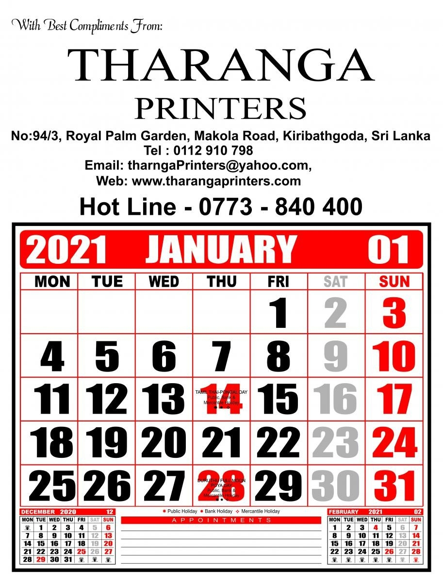 Tharanga Printers - Leading In Offset Printing In Sri Lanka-2021 Calender With Mercantile Holidays
