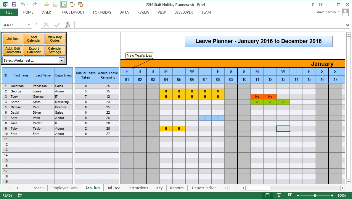 The Staff Leave Calendar A Simple Excel Planner To Manage-Employees Vacation Planner 2021