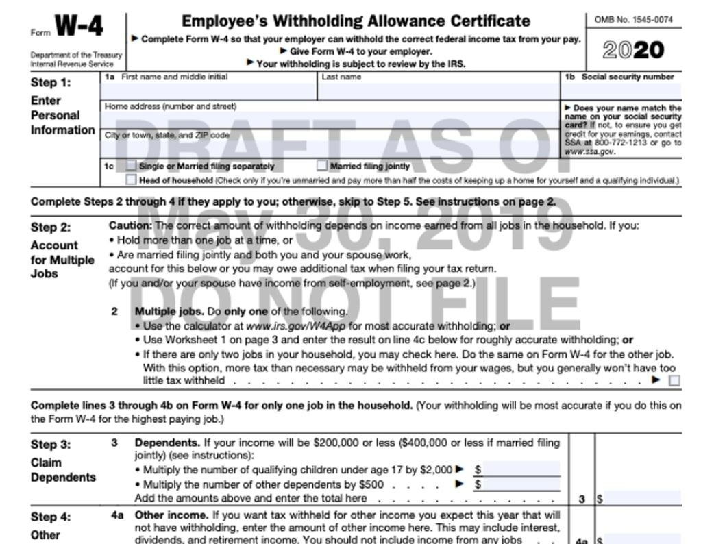 W-4 Form 2021-2021 Printable Irs Forms W-4