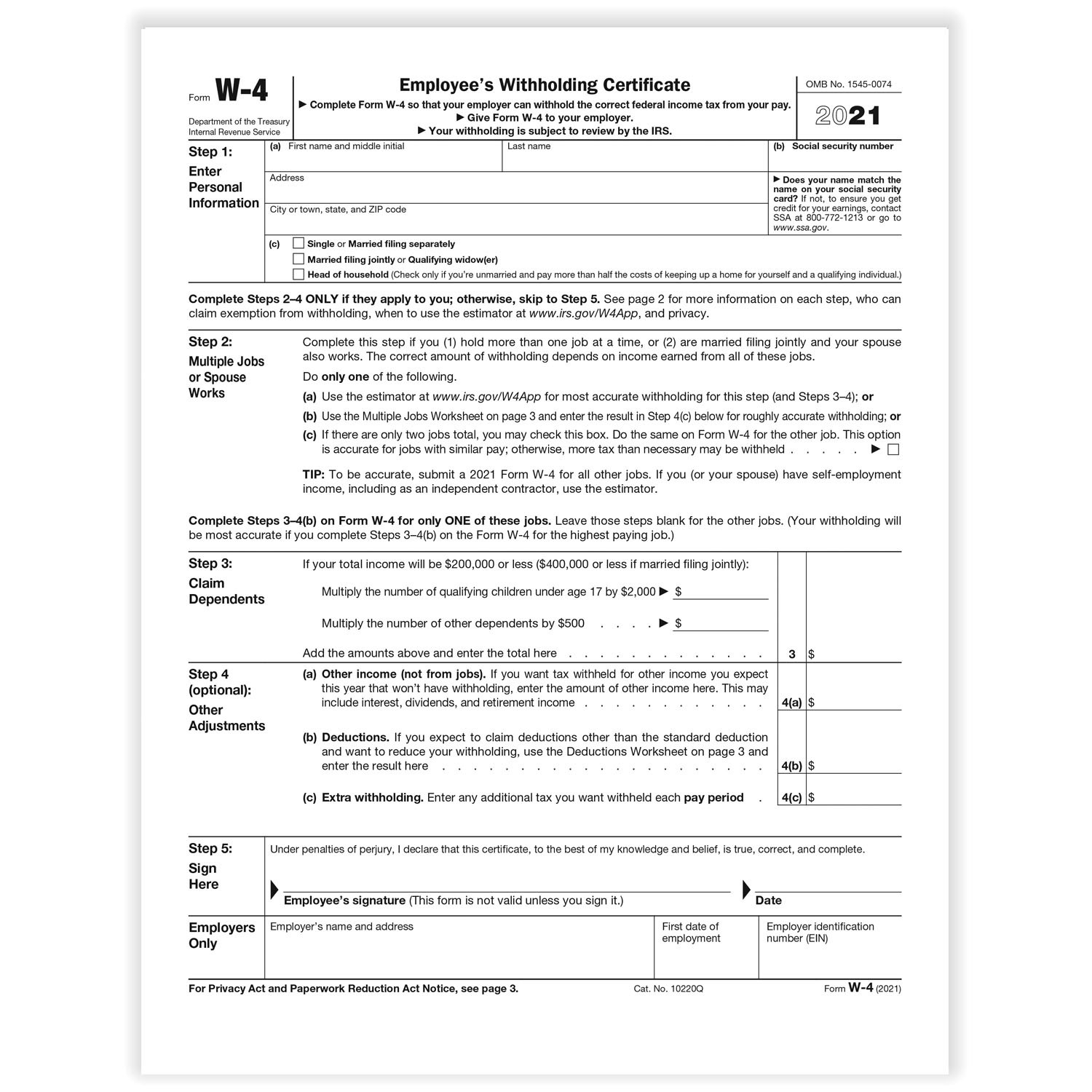 W-4 Forms-2021 Printable Irs Forms W-4