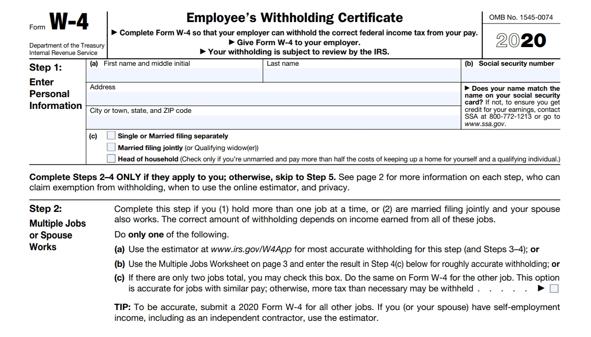W4 Form 2020 - W-4 Forms-2021 Printable Irs Forms W-4