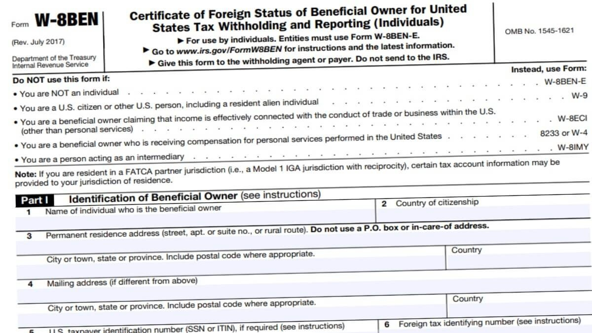 W8Ben 2021 - Irs Forms-2021 Printable Irs Forms