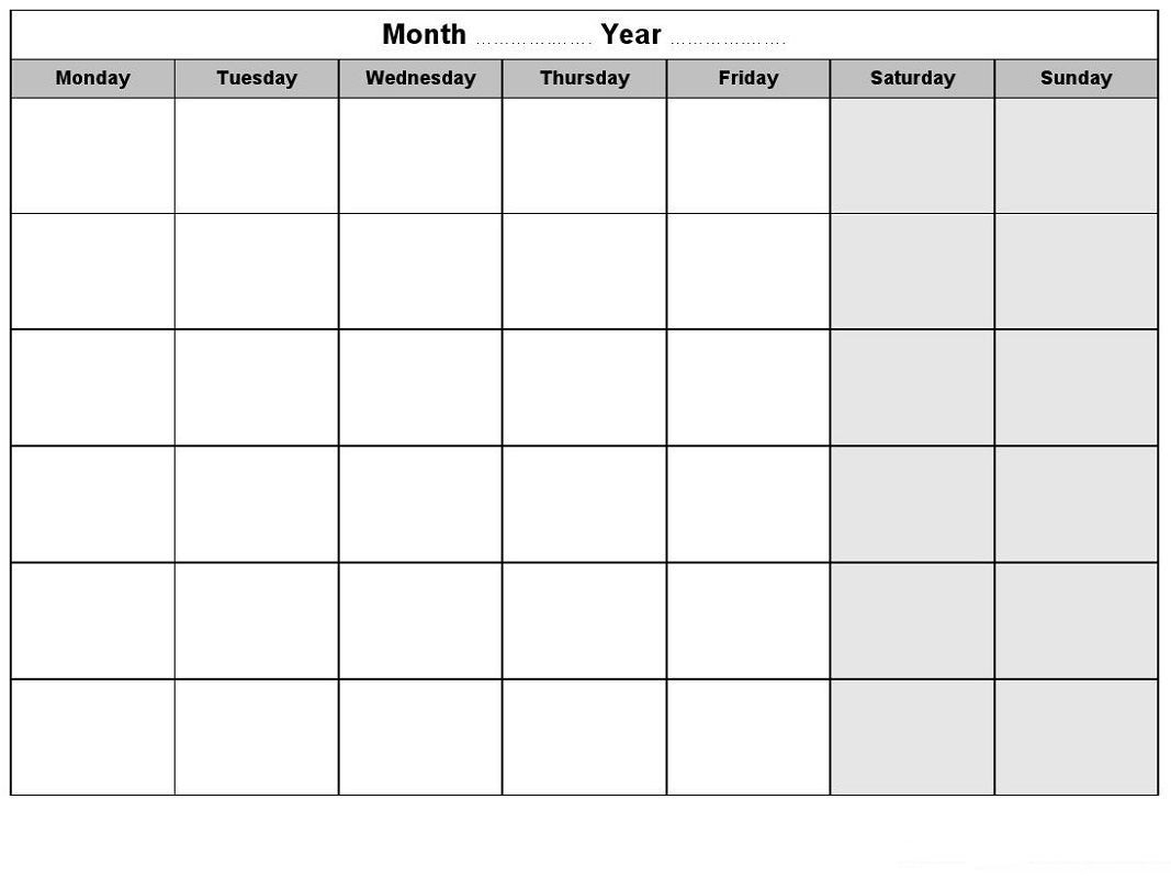 Weekly Blank Calendar For Any Purposes   Monthly Calendar-Sundat To Saturday Printable Monthly Blank Calendar