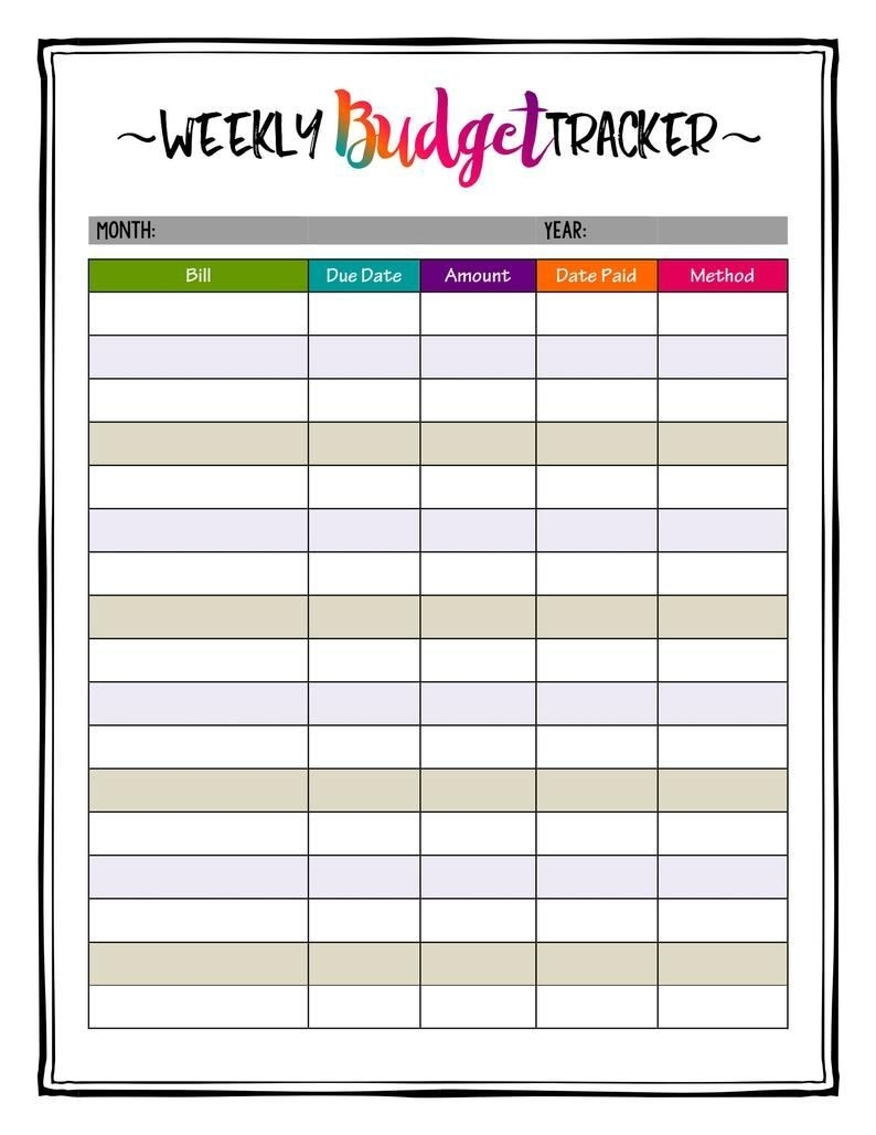 Weekly Budget Planner Printable Bill Payment Planner Insert-Bill Pay Monthly Calendar 2021