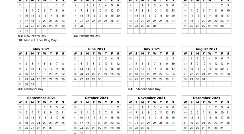 Year At A Glance Calendar 2021 Printable Free For Year At A-2021 Calendar Printable