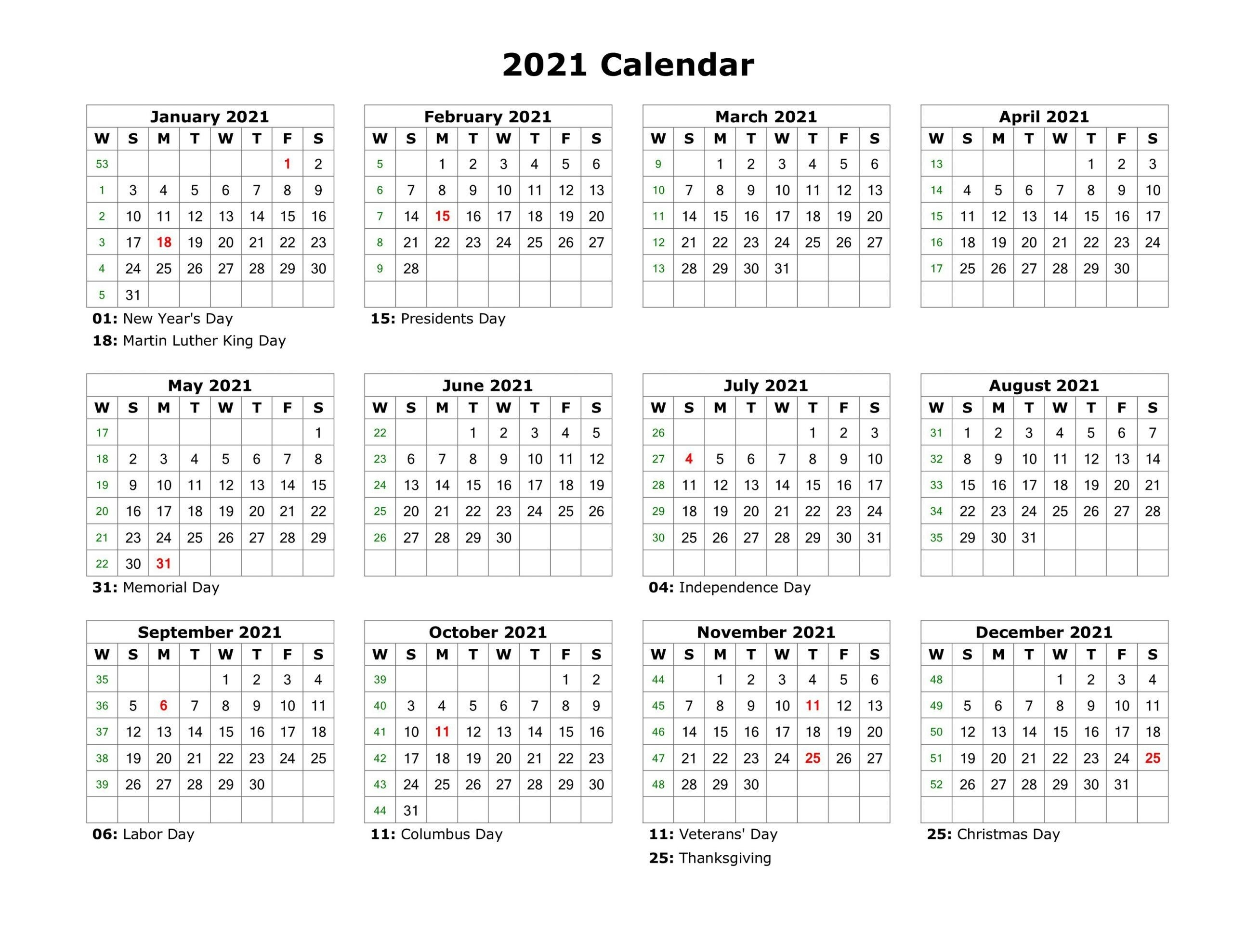 Year At A Glance Calendar 2021 Printable Free For Year At A-2021 Year Calendar Printable