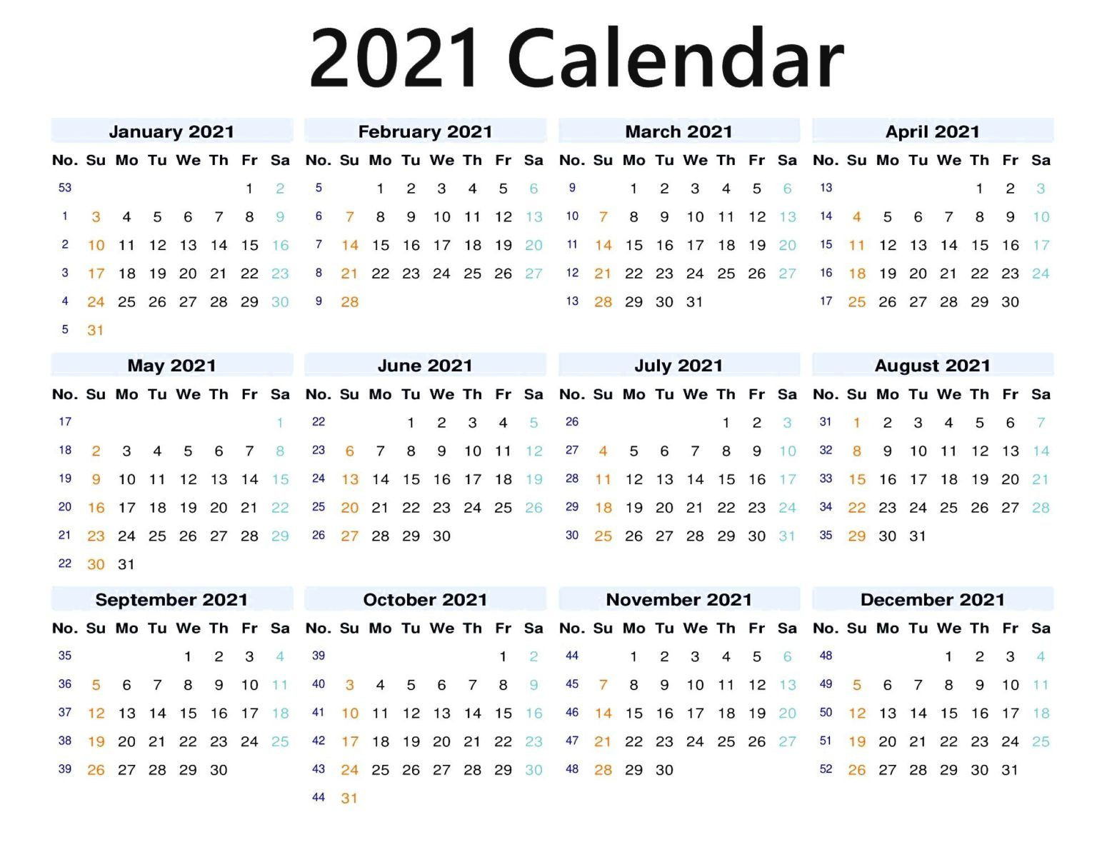 12 Months 2021 Blank Calendar In 2020 | 2021 Calendar-3 Month Printable Calendar Templates 2021