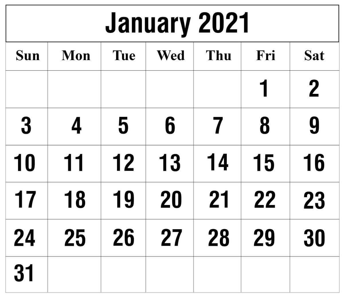 15+ Free Blank January 2021 Fillable Calendar Template To-2021 Calendar Fillable