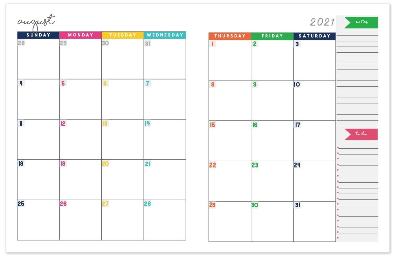 2 Page Monthly Calendar 2021   Calendar Template Printable-2021 Two Page Monthly Calendar Printable