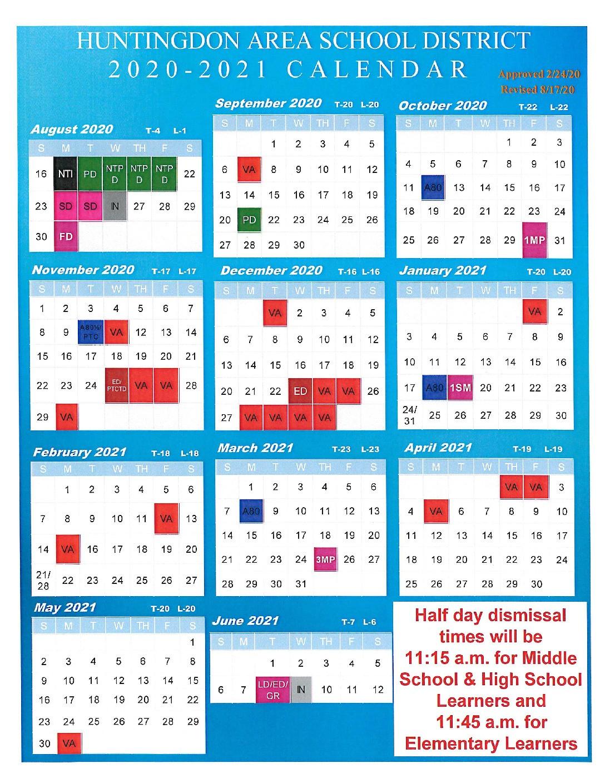 2020-2021 School Calendar - Rev. 081720 - Huntingdon Area-Printable 2021 2021 School Calendar