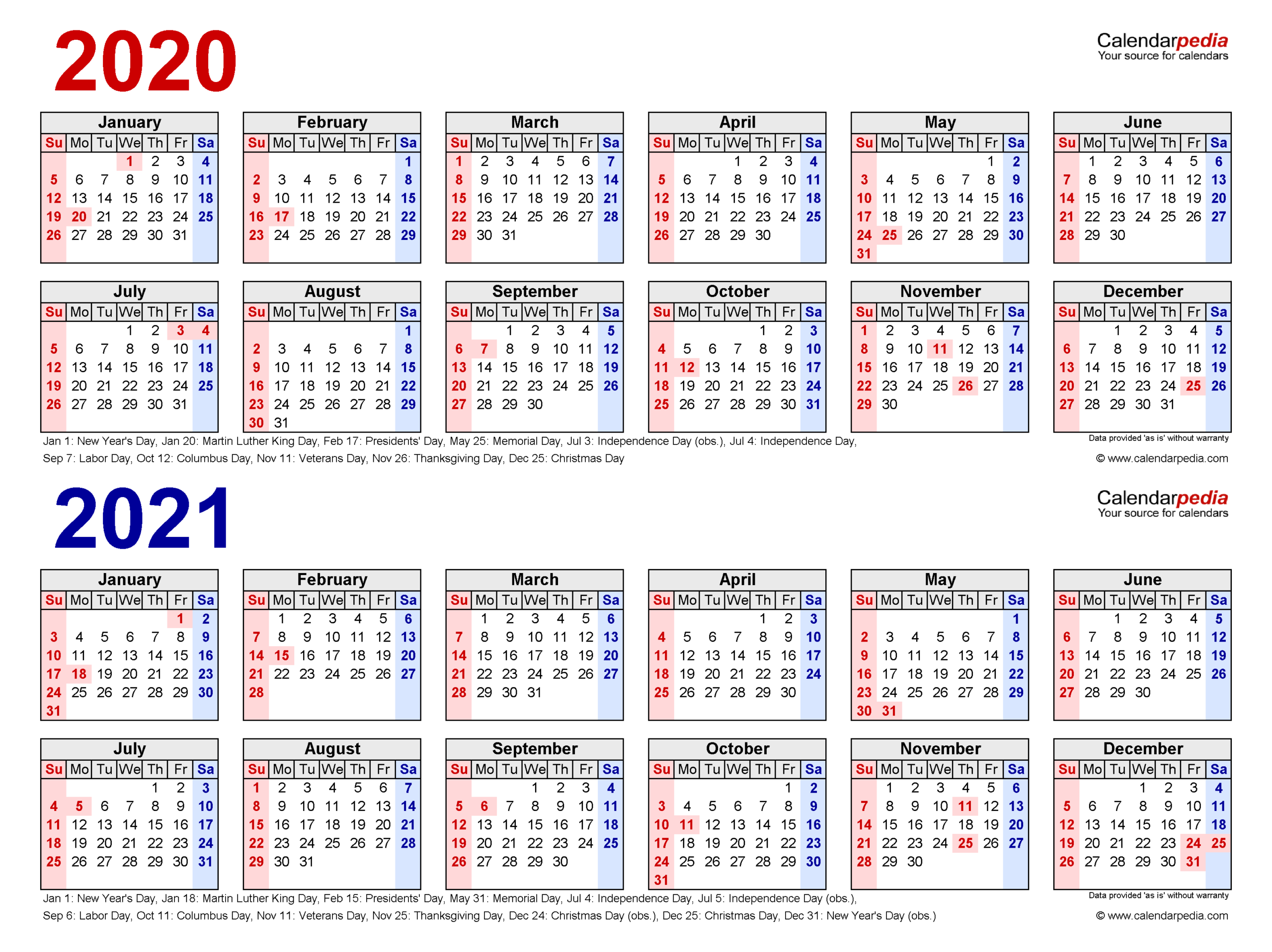 2020-2021 Two Year Calendar - Free Printable Pdf Templates-2021 Two Page Monthly Calendar Printable
