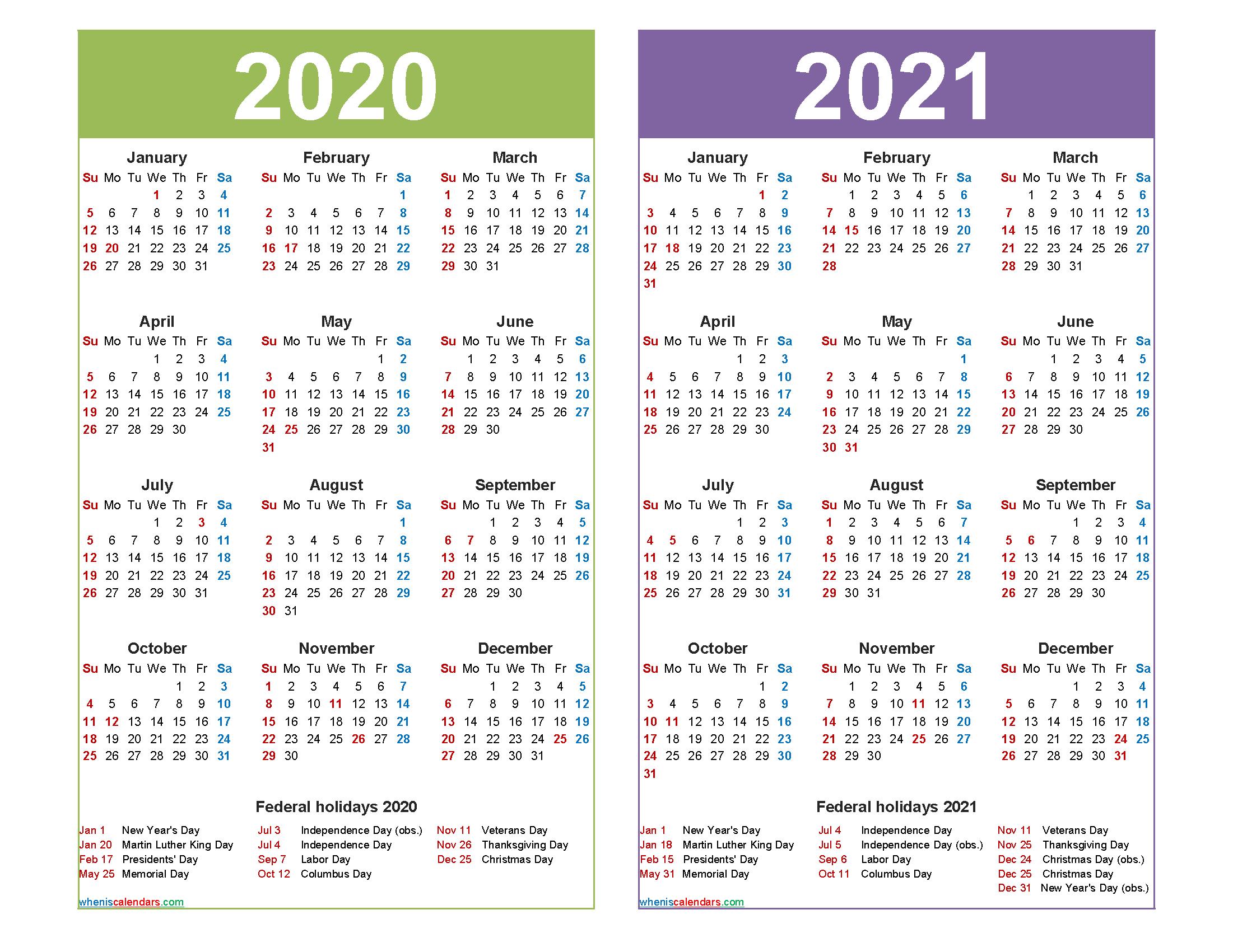 2020 And 2021 Calendar Printable With Holidays Word, Pdf-Printable List Of 2021 National Days