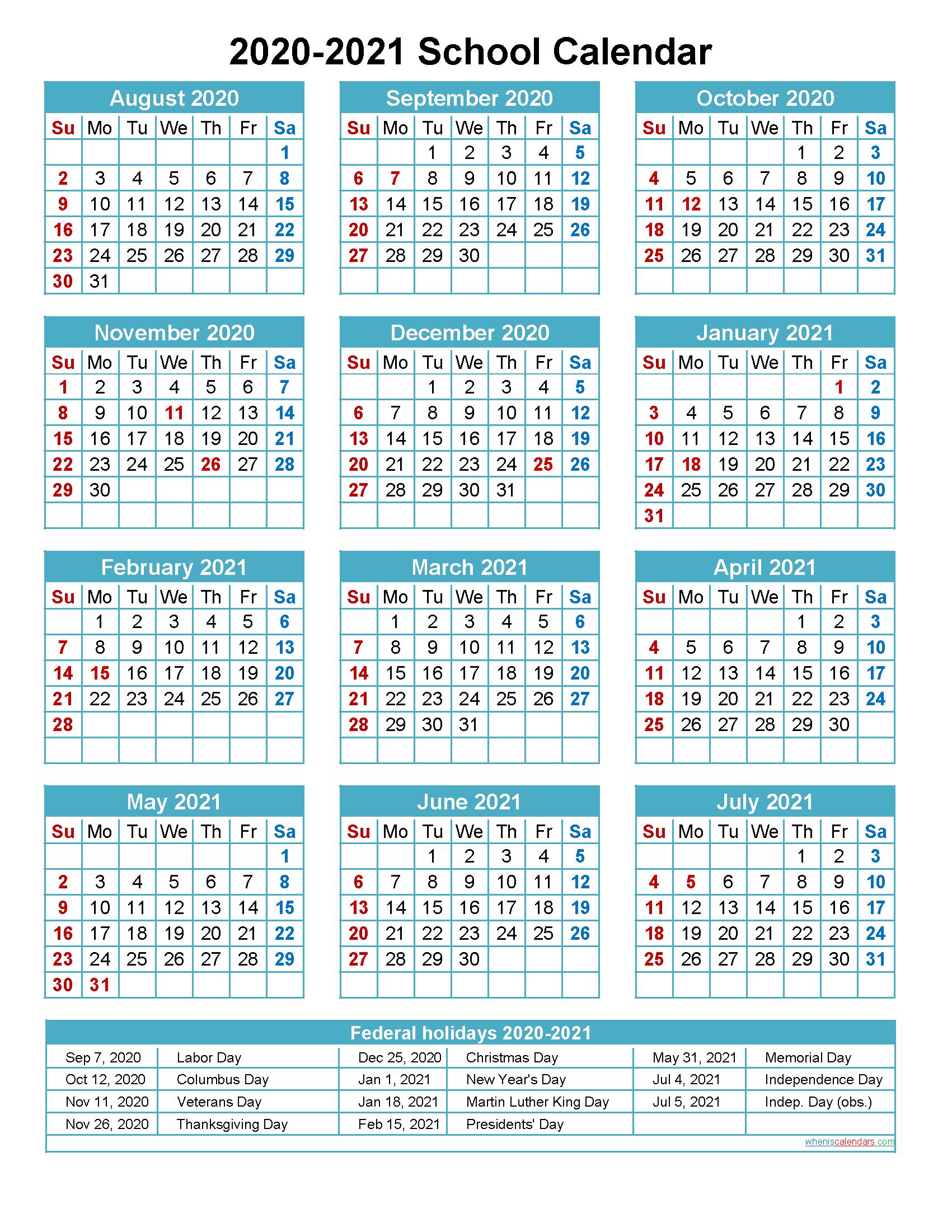 2020 And 2021 School Calendar Printable (Portrait-Printable 2021 2021 School Calendar