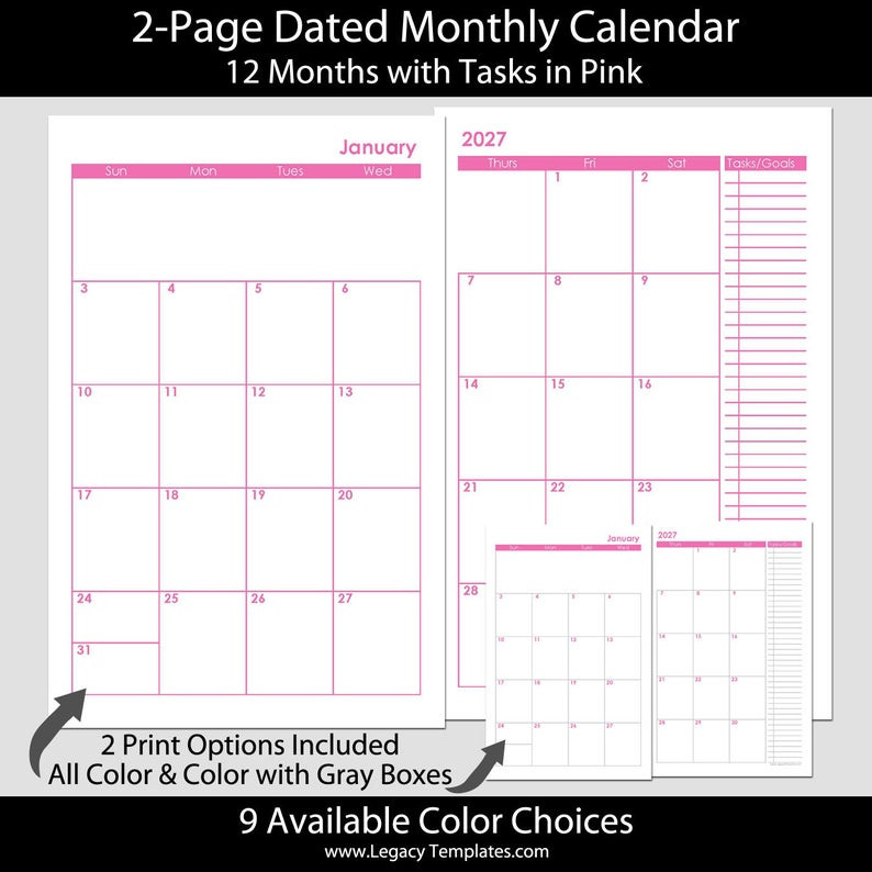2021 2022 2021/2022 & More 12 Or 24-Month 2-Page Calendar-2021 Two Page Monthly Calendar Printable