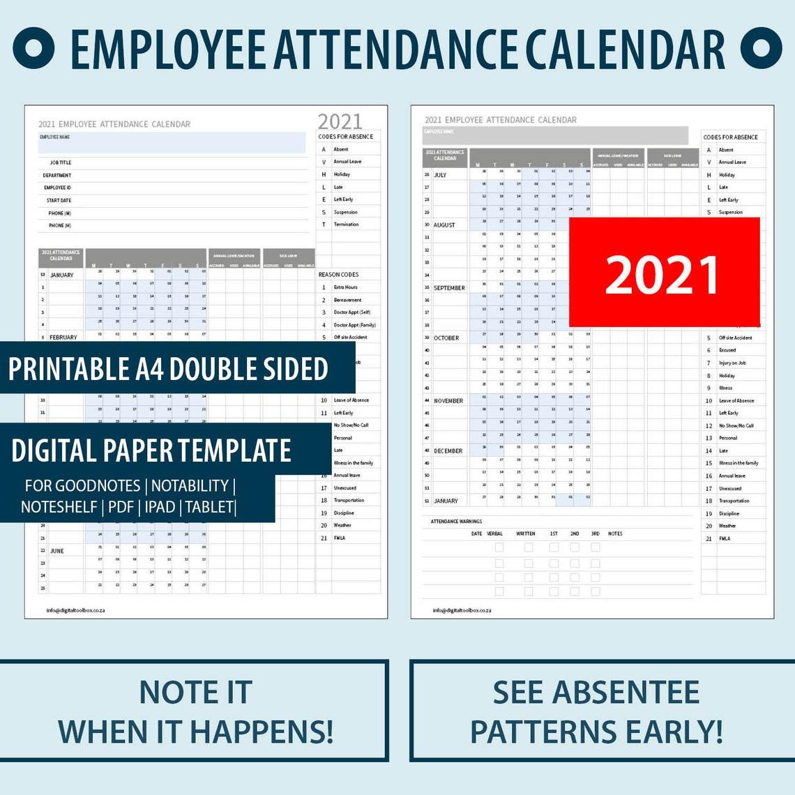 2021 A4 Printable Employee Attendance Absentee | Etsy-Employee Attendance Calendar 2021