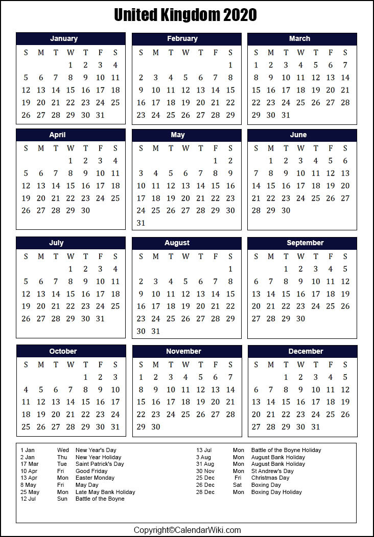 2021 Bank Holidays In Uk / Excel Calendar 2020 Uk 16-2021 Uk Calendar With Bank Holidays