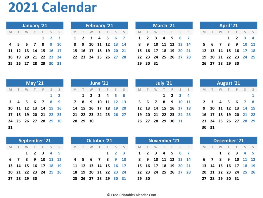 2021 Blank Yearly Calendar Full Page For Adult | Free-Free Printable Monthly Calender 2021