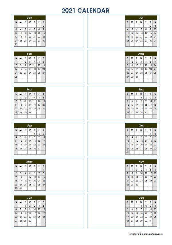 2021 Blank Yearly Calendar Template Vertical Design - Free-Printable 2021 2021 School Calendar